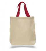 (Set of 12) 12 Pack- Wholesale Cotton Canvas Gusset and Contrasting Handles Tote Bag