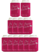Funny Beer Coolie Bachelorette Party Cheers Bitches Gag Gift Wedding Party 12 Pack Can Coolie Drink Coolers Coolies Rose