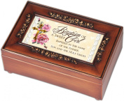 Baptism of a Sweet Girl Rich Walnut Finish Petite Jewellery Music Box - Plays Ave Maria