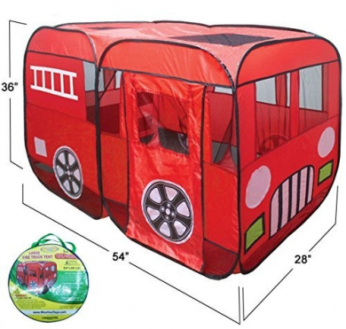 Large Red Fire Truck Pop-Up Play Tent - Fire Engine with Side Door Entrance for Boys or Girls for Indoor or Outdoor Use By WooHoo Toys