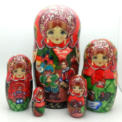 Nesting dolls Russian Hand Carved Hand Painted 5 piece Set 18cm Tall / PUSS in BOOTS fairy tale