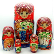 Tsar Saltan fairy tales by Pushkin Russian Nesting dolls Hand Carved Hand Painted 5 piece Set 18cm tall