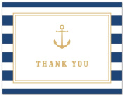 50 Cnt Navy Stripes Gold Anchor Nautical Baby Shower Thank You Cards