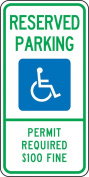 "Accuform Signs FRA203RA Engineer-Grade Reflective Aluminium Handicapped Parking Sign (Montana), Legend ""RESERVED PARKING PERMIT REQUIRED $100 FINE"" with Graphic, 60cm Length x 30cm Width x 0.2cm Thickness, Green/Blue on White"