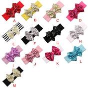 FEITONG(TM) Fashion Cute Elastic Children Headband Cute Sequins Bow Baby Girl Hair Accessories