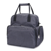 LCY Large Capacity Baby Nappy Changing Bag With Changing Pad Black With Dots
