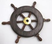 Hardwood Ship's Wheel with Brass Trim - 15cm Diameter