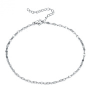1mm thick solid Sterling Siver 925 stamped Italian designer diamond cut FIGARO Curb link style chain with spring ring clasp jewellery, STERLING SILVER Anklet / Ankle Chain / Ankle bracelet will include pretty Gift box- Adjustable