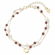 Lustrous - Double Strand White Pearls and Garnet Bracelet with Horse Shoe Pendant