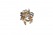 GIZZY® Ladies Gold Effect Diamonte Floral Spray Scarf Clip.