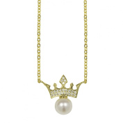 Lustrous - Crown with White Pearl Pendant Necklace