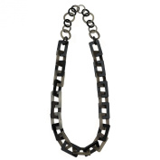 Joe Cool Necklace rectangle chain grey 80cm made from resin