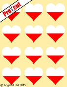 12 X PRE-CUT POLISH FLAG HEART EDIBLE RICE / WAFER PAPER CAKE TOPPERS BIRTHDAY PARTY DECORATION