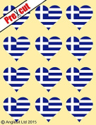 12 X PRE-CUT GREEK FLAG HEART EDIBLE RICE / WAFER PAPER CAKE TOPPERS BIRTHDAY PARTY DECORATION