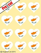 12 X PRE-CUT CYPRUS FLAG HEART EDIBLE RICE / WAFER PAPER CAKE TOPPERS BIRTHDAY PARTY DECORATION
