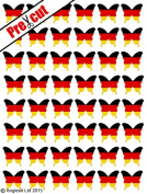 48 X PRE-CUT GERMAN FLAG BUTTERFLY EDIBLE RICE / WAFER PAPER CAKE TOPPERS BIRTHDAY PARTY DECORATION