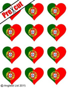 12 X PRE-CUT PORTUGUESE FLAG HEART EDIBLE RICE / WAFER PAPER CAKE TOPPERS BIRTHDAY PARTY DECORATION
