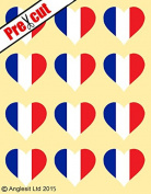 12 X PRE-CUT FRENCH FLAG HEART EDIBLE RICE / WAFER PAPER CAKE TOPPERS BIRTHDAY PARTY DECORATION