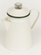 Shabby chic vintage style enamelled coffee percolator