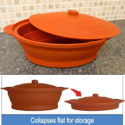 CrazyGadget® Multi-Use Collapsible Silicone Cooking Pot in Terracota 1.2 L Collapsible design suitable for oven, microwave and freeze. Ideal for home, camping and caravanning etc