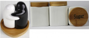 Cream Tea Coffee Sugar Jars Ribbed Square Canisters Set With Blk And White Salt and Pepper With Bamboo Lids