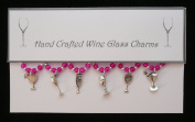 Glasses Themed Wine Glass Charms Set of 6 Handmade Hot Pink