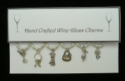 Girlie Themed Wine Glass Charms Set of 6 Handmade White Pearl