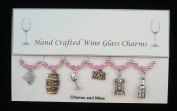Cheese and Wine Themed Golden Wine Glass Charms Set of 6 Handmade Pale Pink