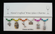 Cheese and Wine Themed Golden Wine Glass Charms Set of 6 Handmade Multi Colour