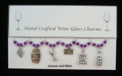 Cheese and Wine Themed Golden Wine Glass Charms Set of 6 Handmade Purple