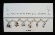 Seaside Themed Wine Glass Charms Set of 6 Handmade Clear