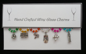 London Themed Wine Glass Charms Set of 6 Handmade Multi Colour