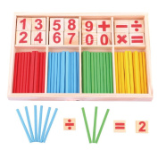 EUBUY Colourful Wooden Counting Sticks Math Manipulatives Cards and Counting Rods with Box for Kids Toddlers