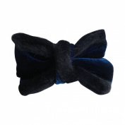 Navy Holiday Hair Bow Velvet with Fur Trim Hair Accessory for Girls