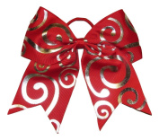 """New """"Silver Swirl RED"""" Cheer Bow Pony Tail 7.6cm Ribbon Girls Hair Bows Cheerleading Dance Practise Football Games Competition Birthday Christmas"""