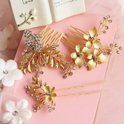 Women's Gold Plated Hairpin Wedding Bridal Crystal Hair Stick Ornaments Comb 3 PCs