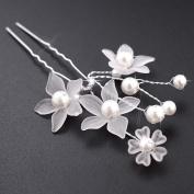 Women's U-Shape Pearl Hairpin Bridal Crystal Flower Hair Sticks 2 Pcs