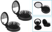 2 Pop Up Travel Folding Hair Brush Mirror Pocket Purse Car Camping Compact 6.4cm