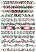 Snake, Scorpion, Tribal, Insect Temporary Tattoo Bands / Pack of 12