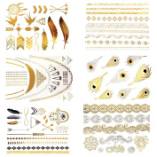Premium Metallic Tattoos (Huge 6 Sheets Pack) - Beautiful Tattoo Flash & Body Art - Gold Silver & Black Temporary Fake Jewellery Tattoos - Bracelets, Feathers,arrows, Necklaces,wrist & Arm Bands