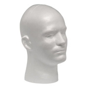 Case Pack of 4 Giell Styrofoam Foam Mannequin Wig Head Display Male White