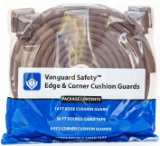 46cm Edge Protector & 8 Corner Guards (Coffee Brown) by Vanguard Safety - Childproof Your Furniture While Maintaining Its Beauty - Includes 3M Double-sided Tape for Easy Installation