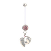 Astage Women`s Pregnancy Flexible Belly Button Ring Or Glitters Piercings Pink