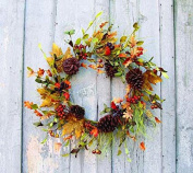 Berry Foliage Wreath w/ Pine Needles, Fall Leaves & Pinecones, 60cm