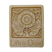 Moldiy Single Cavity Rectangular Soap Craft Art Mould with Floral Pattern Life is Good