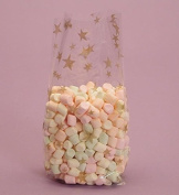 Gold Stars Cello Bags, Pack of 25 Great for Christmas Etc!
