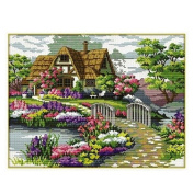 Yontree DIY Handmade Countryside Flower Cross Stitch Kit Embroidery Kit Home Decor