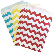 Outside the Box Papers Blue, Yellow, Red and White Chevron Treat Sacks - Favour Bags Made in USA Birthday Circus Theme Party or Baby Shower - 48 Pack 5.5 x 7.5