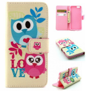 iPhone 6S case, Lookatool® for iPhone 6S 12cm Owl Leather Magnetic Wallet Flip Cover Case Skin