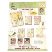 4217 Bulb Flowers One Stroke Reusable Painting Teaching Guide Worksheet Pack